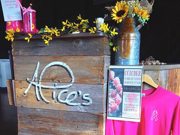 Alice's waitress stand with Breast Cancer Awareness sweater and sign.