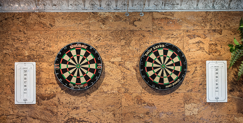 The dartboards at Big Fish Lounge