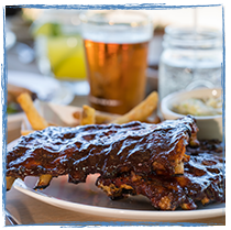 rack of ribs and a beer